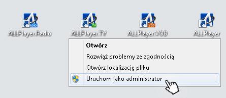ALLPlayer - uruchom jako administrator